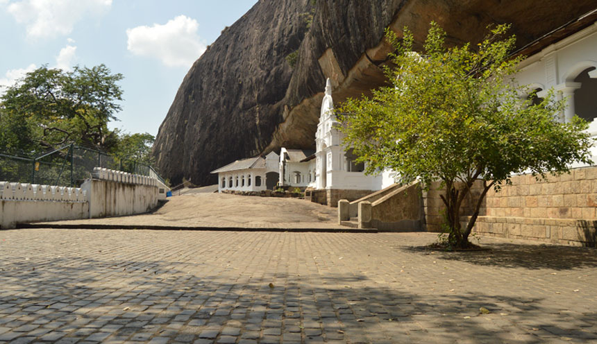 Exterior of Dambulla Cave Temple in Sri Lanka