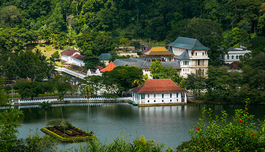 Kandy City View and Temple of the Sacred Tooth Relic Kandy Sri Lanka