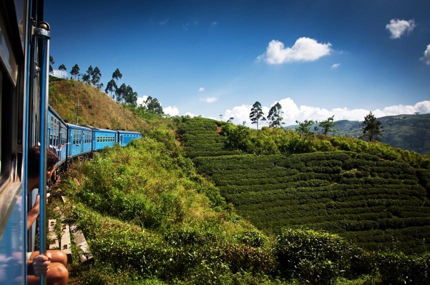 Train from Nuwara Eliya to Kandy among tea plantations in the highlands of Sri Lanka